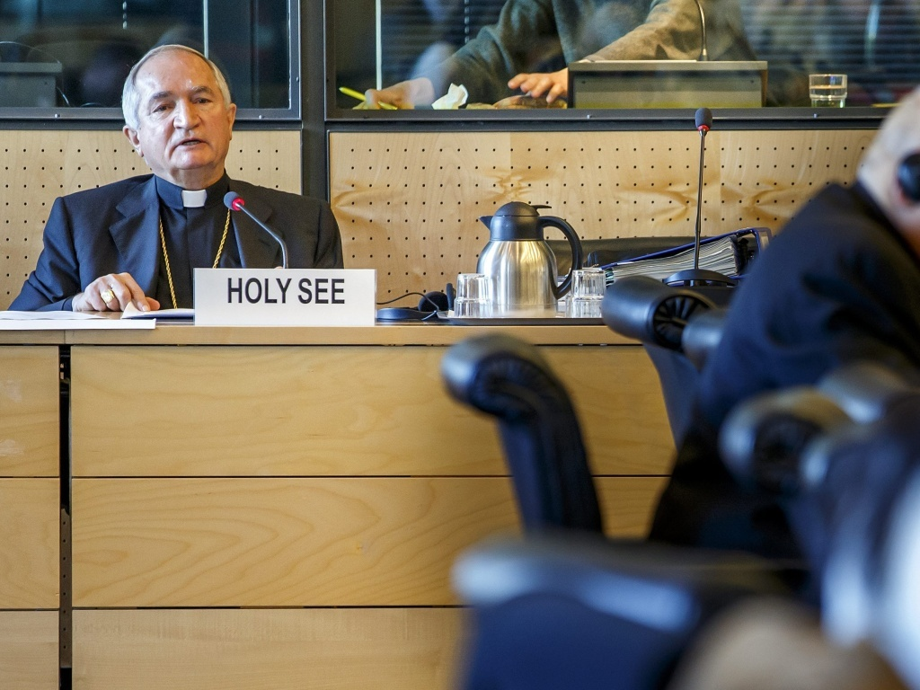 Archbishop Silvano M. Tomasi appears before the U.N. committee in Geneva on Monday.