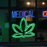 medical marijuana sign neon pot