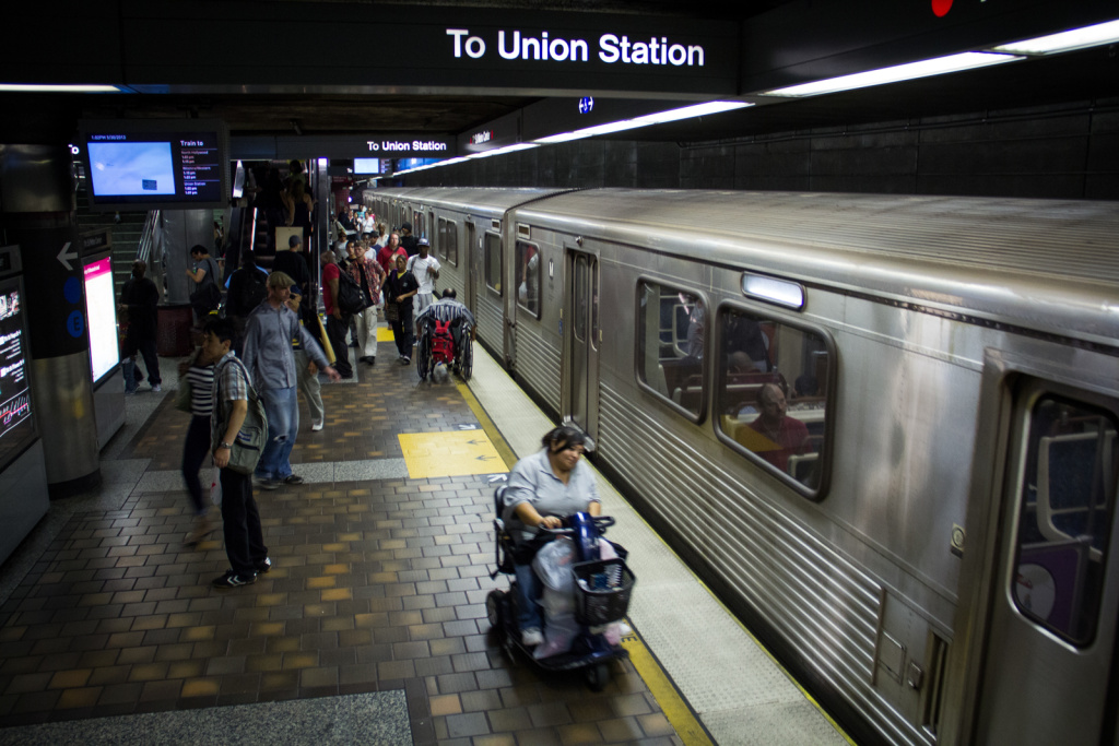 FILE PHOTO: Metro's Purple Line at 7th Street/Metro Center Station in downtown L.A.