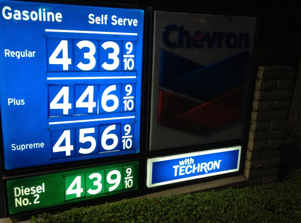 Gasoline prices at a Newport Beach station Friday, March 8, 2013. Gas prices are dropping in the past week in Southern California. The Auto Club said the average price for a gallon of self-serve regular statewide is $4.20 a gallon, $4.28 in L.A. County.