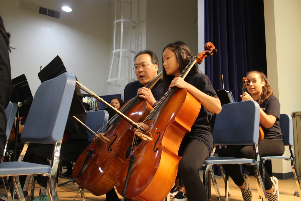 Yo-Yo Ma asked the middle school students if they could perform with their orchestra.