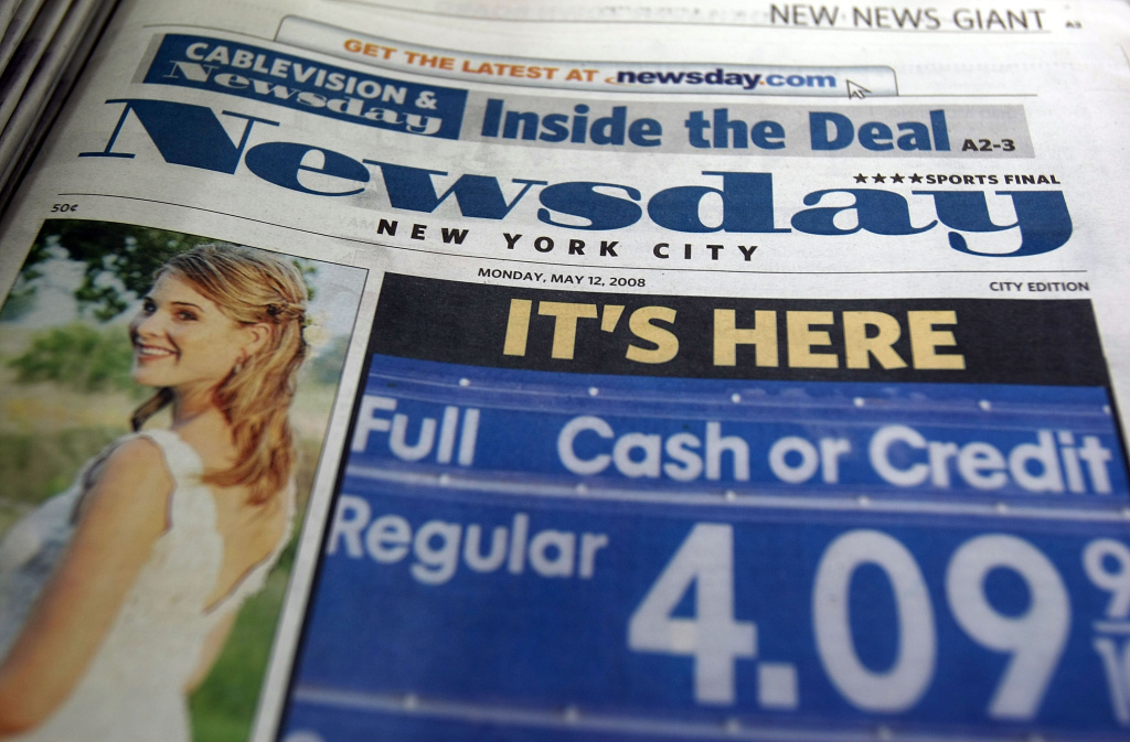 The newspaper Newsday is seen at a newsstand May 12, 2008 in New York City.