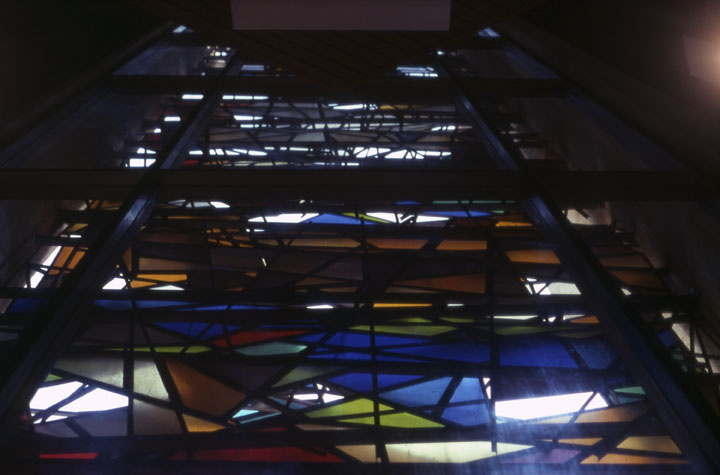Falkenstein's stained glass work from inside St. Basil's Catholic Church on Wilshire Boulevard in Los Angeles.