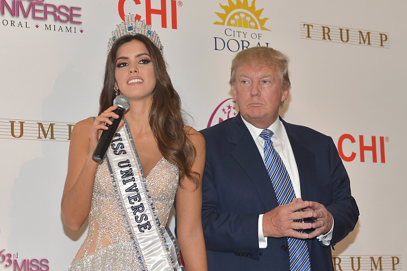 Miss Universe Paulina Vega and Donald Trump attend the 63rd Annual Miss Universe Pageant winner press conference at Trump National Doral on January 25, 2015 in Doral, Florida.