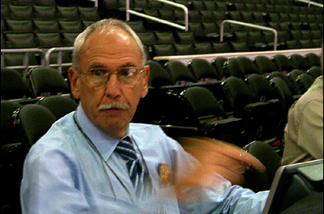 Clippers play-by-play man Ralph Lawler pre-game at Staples Center.