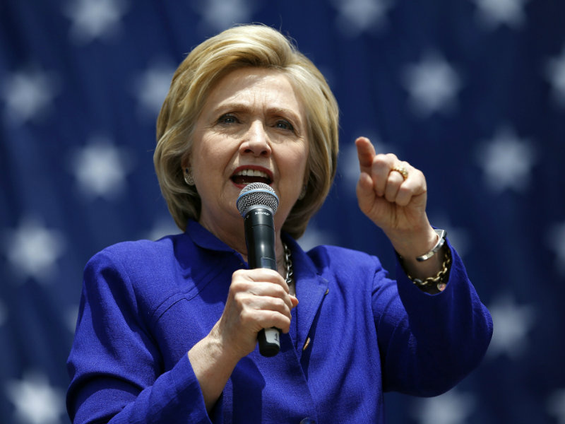 Democratic presidential candidate Hillary Clinton speaks at a rally, Monday, June 6, 2016, in Lynwood, Calif. Clinton has commitments from the number of delegates needed to become the Democratic Party's presumptive nominee for president.