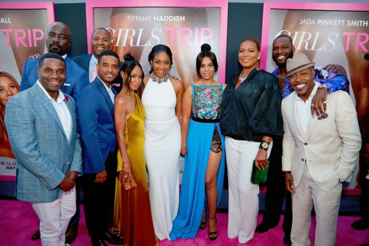 Producer Will Packer (R) with the cast of