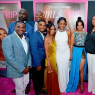 "Producer Will Packer (R) with the cast of ""Girls Trip."""