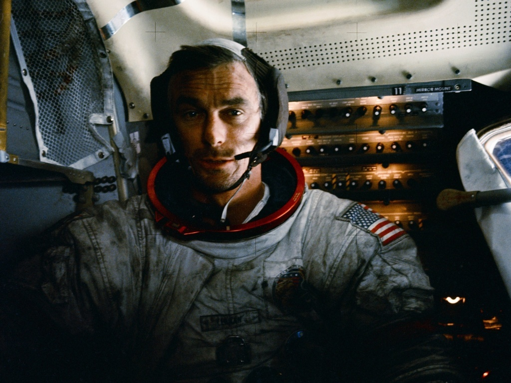 Gene Cernan in the Apollo 17 lunar module after one of three moonwalks.