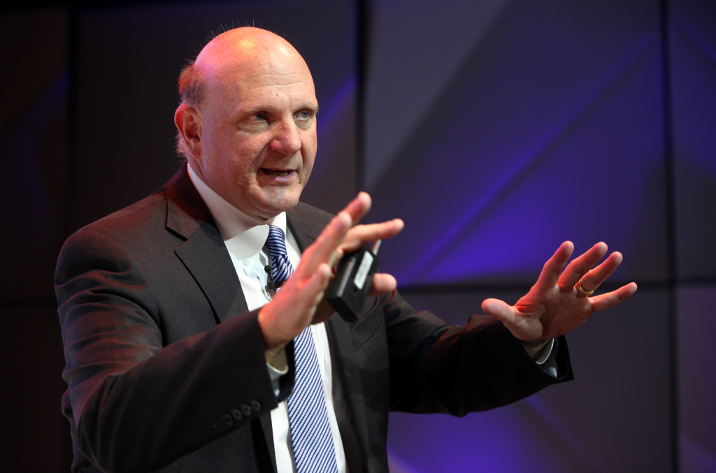 Microsoft Chief Executive Steve Ballmer speaks at the opening of the Microsoft Center Berlin on Nov. 7, 2013, in Berlin.