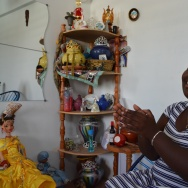 Singer Daymé Arocena with the Santería altar in her Havana apartment,