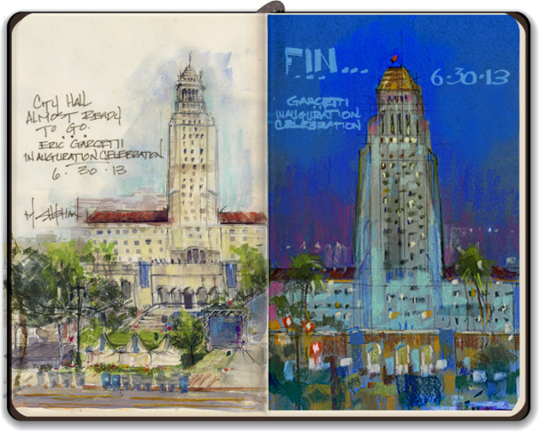 Mike Sheehan's sketches from the Garcetti inauguration, from day to night.