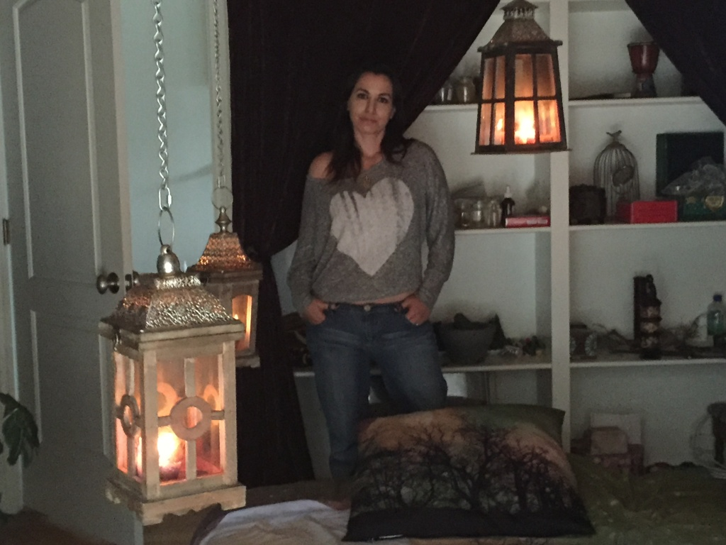 Rachel Stavis in the guest house where she performs exorcisms.