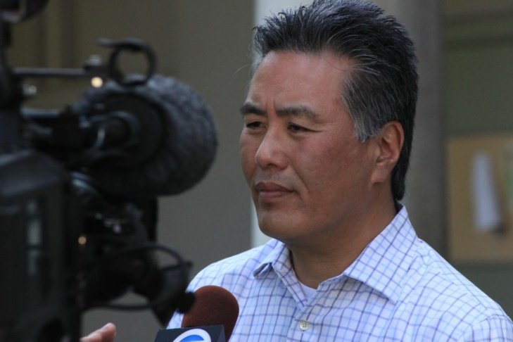 41st Congressional District candidate Mark Takano speaks to news media at Riverside Community College