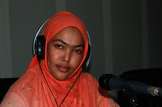 Sagal Siad reads the news on the government's Radio Mogadishu. Many of the reporters at the U.S. funded radio station have been targeted for assignation by Islamic extremists.