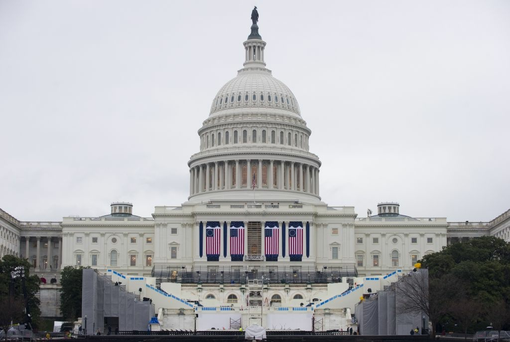 Preparations continue for the Presidential Inauguration on the West Front of the US Capitol in Washington, DC, on January 16, 2013. US President Barack Obama will be ceremonially sworn-in for a second term on January 21.
