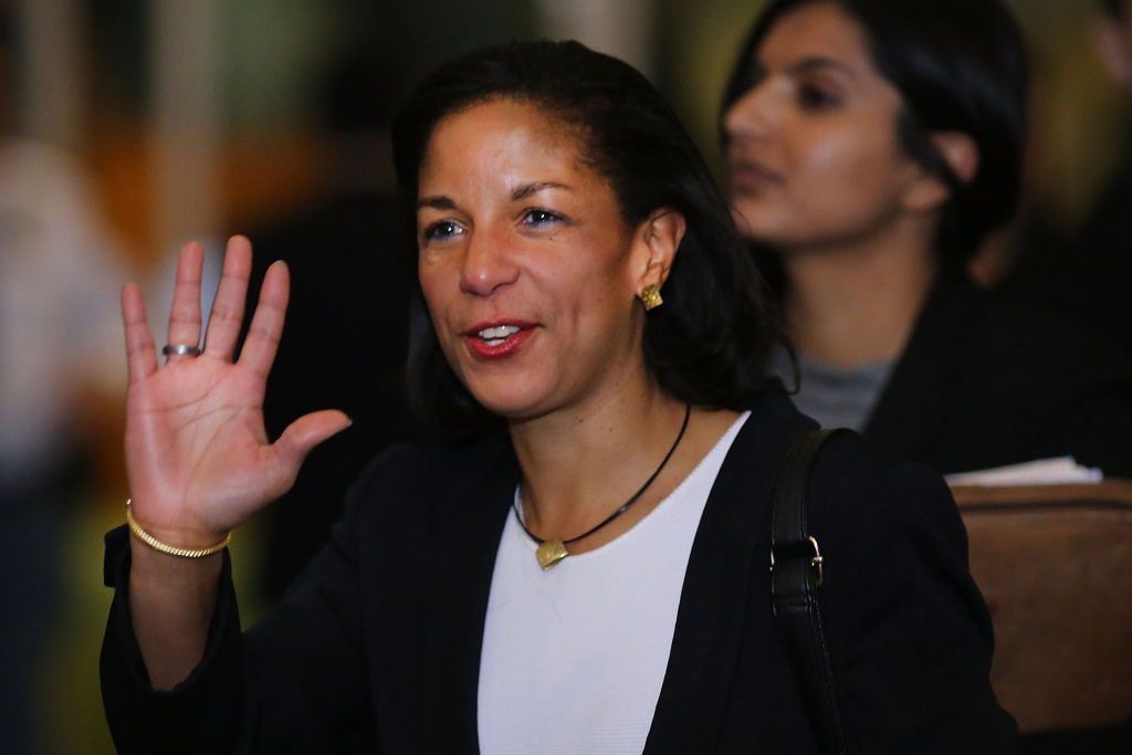 U.N. Ambassador Susan Rice leaves following a General Assembly vote granting Palestinians non-member observer status on November 29, 2012 in New York City.