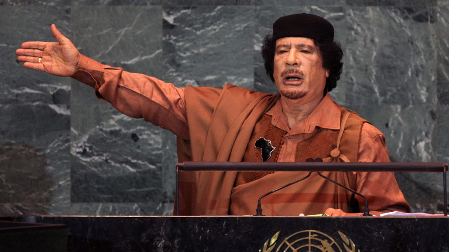 Moammar Gadhafi, shown here delivering a speech at the United Nations in 2009. He was killed in Sirte, Libya in October 2011.