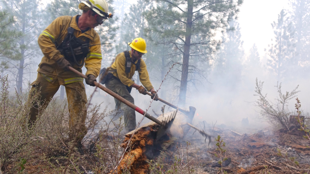 Firefighters who work on wildland fires and prescribed burns (shown here) can be exposed to high levels of harmful smoke.