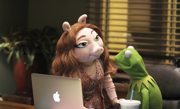 Kermit the Frog with new Muppets character Denise.