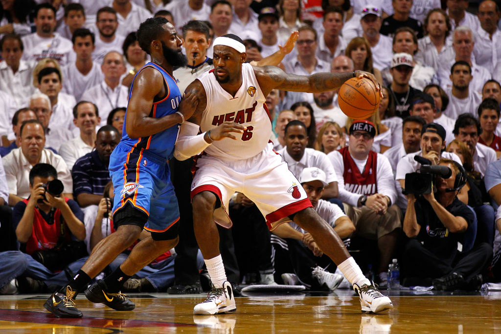 LeBron James, #6 of the Miami Heat, moves the ball in the post in the second half against James Harden #13 of the Oklahoma City Thunder in Game Four of the 2012 NBA Finals. Miami can win the NBA title if they win tonight in Game 5.