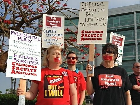 California Faculty Association members staging a protest of a CSU meeting. CSU trustees are considering a plethora of contingency plans if voters reject a tax initiative intended to cover the university's growing shortfall.