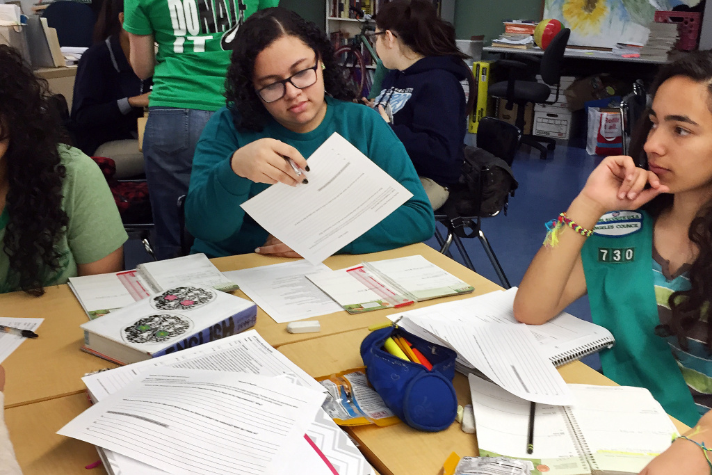Hughgett Mendoza, left, Brittany Loew, and students throughout California will be tested this spring based on their Common Core learning.