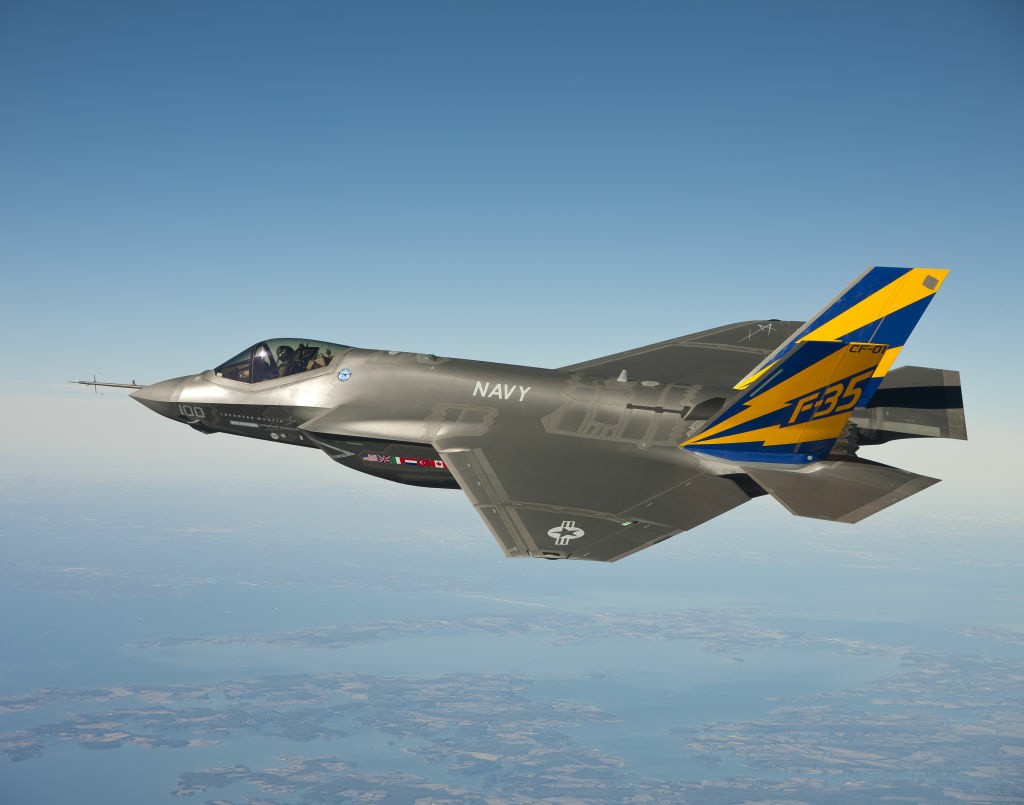 In this image released by the U.S. Navy courtesy of Lockheed Martin, the U.S. Navy variant of the F-35 Joint Strike Fighter, the F-35C, conducts a test flight February 11, 2011 over the Chesapeake Bay. Lt. Cmdr.