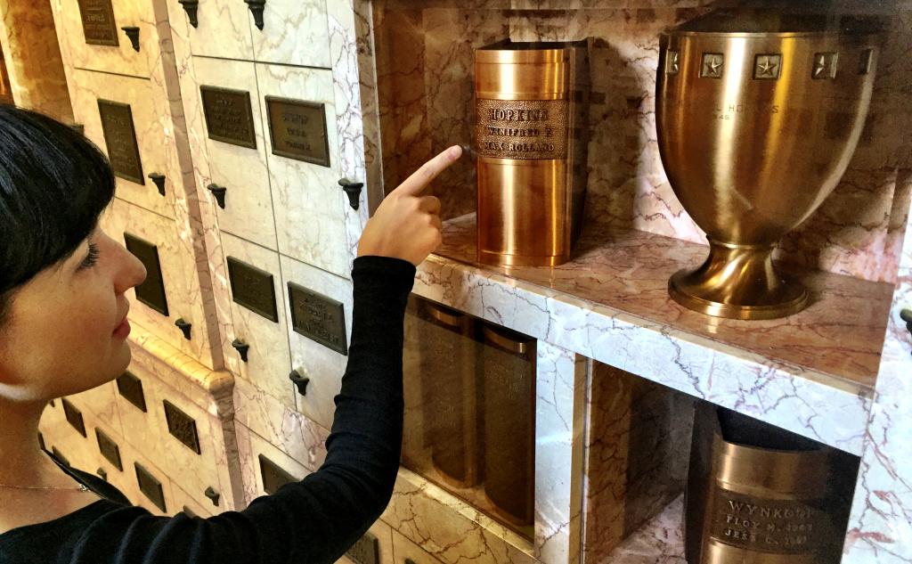 Elizabeth Harper of All the Saints You Should Know with cremains urns that indicate the decedents' personalities. She knows a librarian who would be delighted to rest forever in an urn shaped like a book.