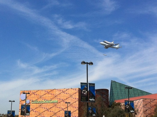 Endeavour over the California Science Center.