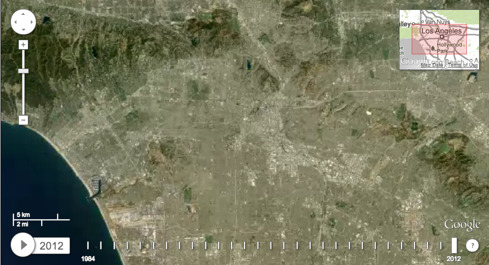 Satellite image of Los Angeles in 2012.