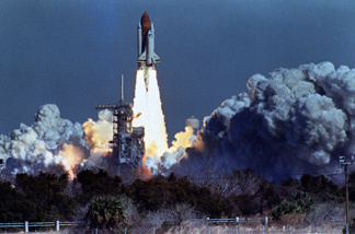 The space shuttle Challenger lifts off Jan. 28, 1986, from Kennedy Space Center. Seventy-two seconds later, at an altitude of 10 miles, the shuttle exploded, killing its crew of seven.