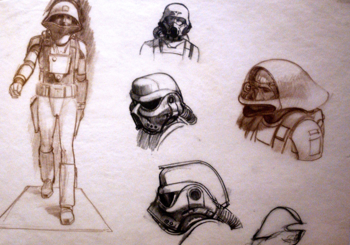 Original artwork titled 'Bounty Hunters in Cloud City' by Ralph McQuarrie.