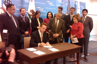 Governor Arnold Schwarzenegger signs on Friday, Oct. 1, 2010, a bill, is the first in the country to create a giant purchasing pool for insurance under federal health care reform.