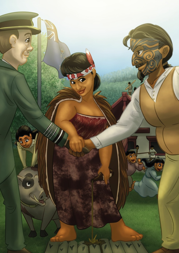 """Maori royal Te Puea Herangi, as illustrated by Jason Porath in his blog and new book, """"Rejected Princesses."""""""