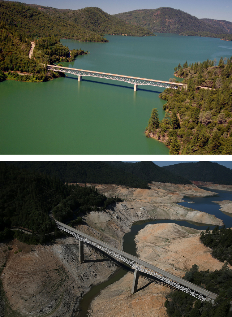 OROVILLE, CA - JULY 20:  In this before-and-after composite image, (Top) The Enterprise Bridge passes over full water levels at a section of Lake Oroville on July 20, 2011 in Oroville, California (Bottom) The Enterprise Bridge passes over a section of Lake Oroville that is nearly dry on August 19, 2014 in Oroville, California. As the severe drought in California continues for a third straight year, water levels in the State's lakes and reservoirs is reaching historic lows. Lake Oroville is currently at 32 percent of its total 3,537,577 acre feet.