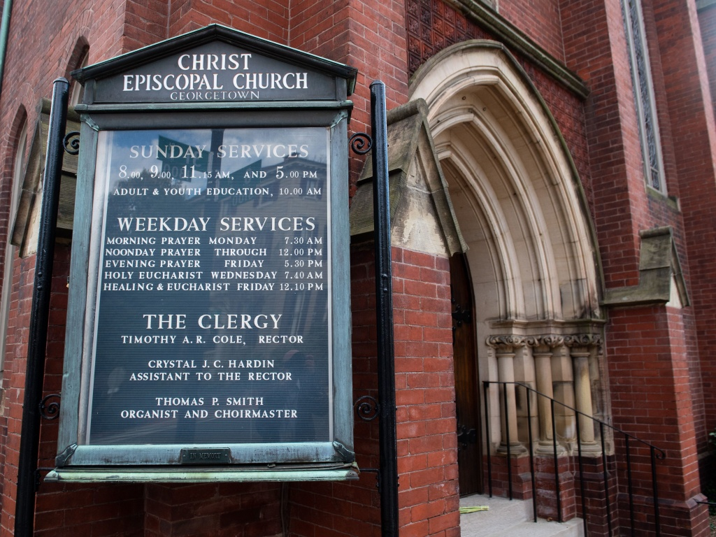 Christ Episcopal Church Georgetown in Washington, D.C. The church's rector, Reverend Timothy Cole, tested positive for the COVID-19 virus.