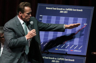 California governor Arnold Schwarzenegger points to a chart as he talks about the State budget during an appearance at City Summit in San Francisco, California in August 2010.
