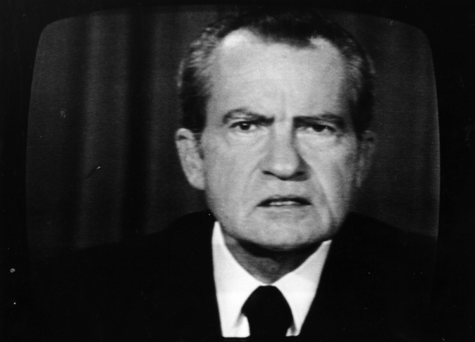 The 37th President of the United States, Richard Nixon, on a television screen.
