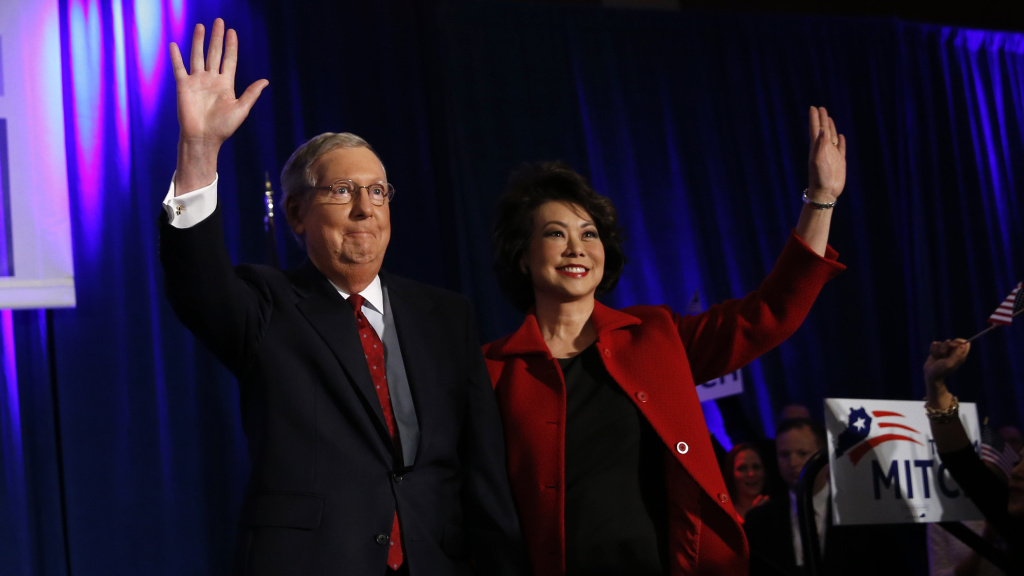 Sen. Mitch McConnell (R-KY) arrives at his midterm election night rally with his wife, former U.S. Secretary of Labor Elaine Chao, in Louisville. McConnell, who won reelection, might become the next Senate Majority Leader.