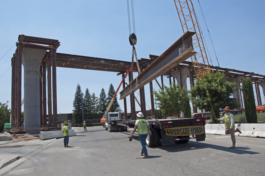 In this handout image provided by the California High-Speed Rail Authority, Construction of the Cedar Viaduct seen from the Golden State Boulevard to west of State Route 99 on July 13, 2017 in Fresno, California.