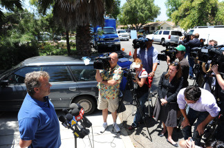 Laurence Sunderand talks to reporters about his daughter Abby Sunderland outside his home in Thousand Oaks, California June 11, 2010.