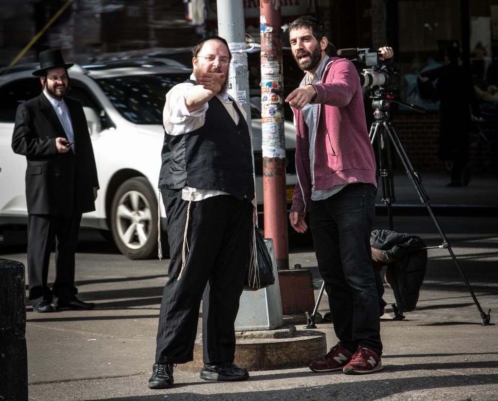 Menashe Lustig and Joshua Z. Weinstein on set of