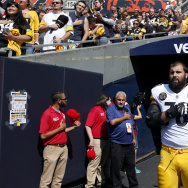 Alejandro Villanueva of the Pittsburgh Steelers stands by himself in the tunnel for the national anthem prior to the game against the Chicago Bears at Soldier Field on September 24, 2017 in Chicago, Illinois.