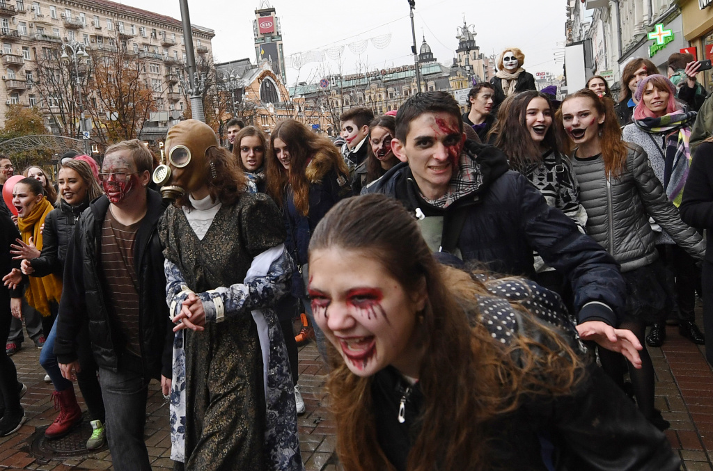 Revellers in costumes take part in a 'Zombies March' in central Kiev on October 28, 2017, ahead of Halloween celebrations on October 31.