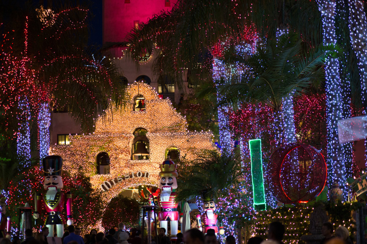 more than 4 million lights decorate the mission inn in riverside for its annual festival of