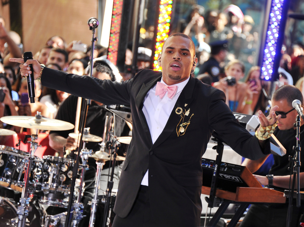 Singer Chris Brown performs on NBC's