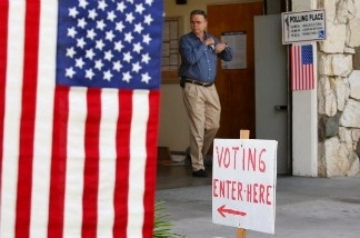 A voter walks from the polling place inside Fire Station 38 in Pasadena, California.
