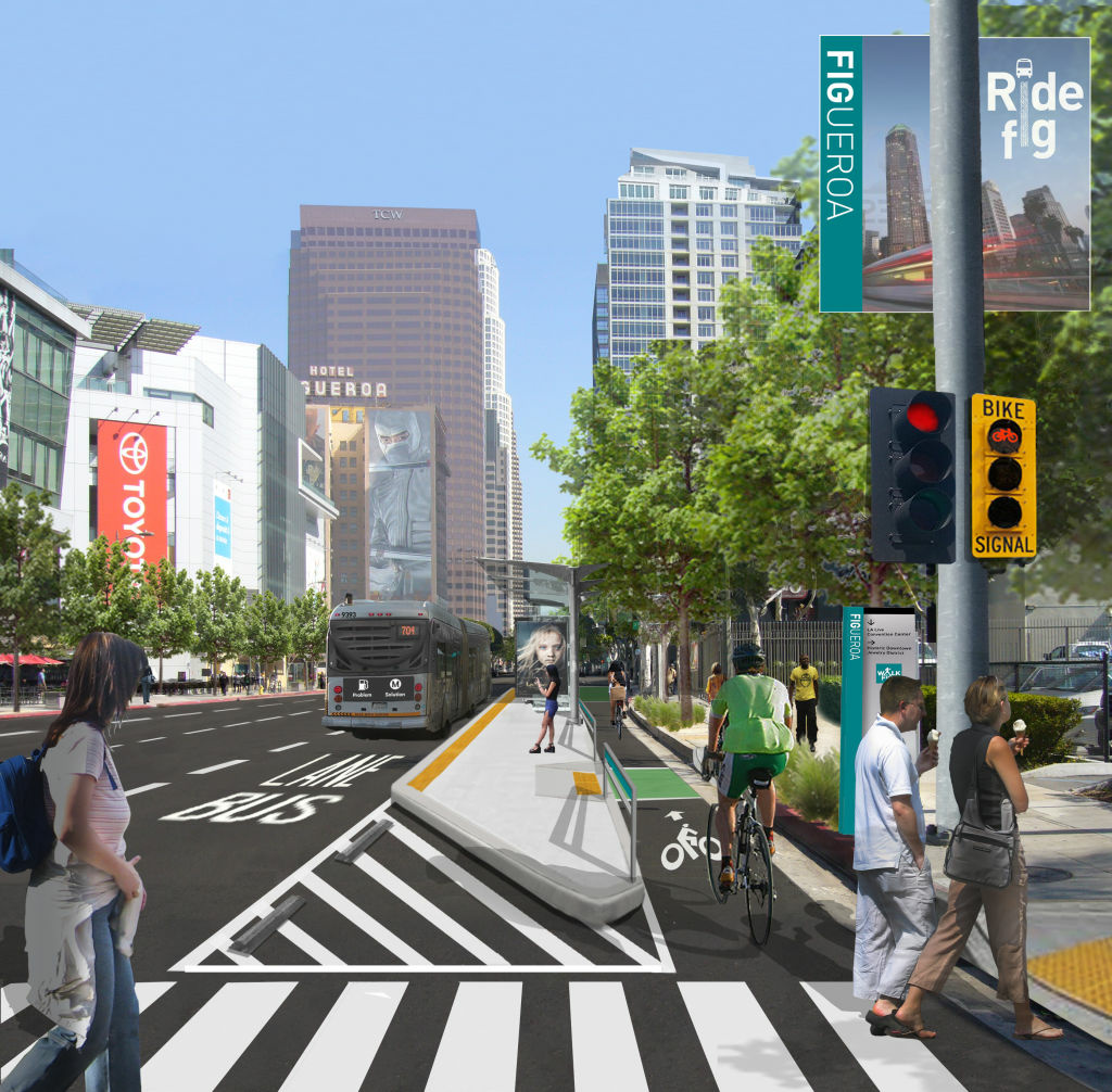 A rendering of the intersection at Figueroa and 11th streets. These new bike lanes will be the first of their kind in L.A.