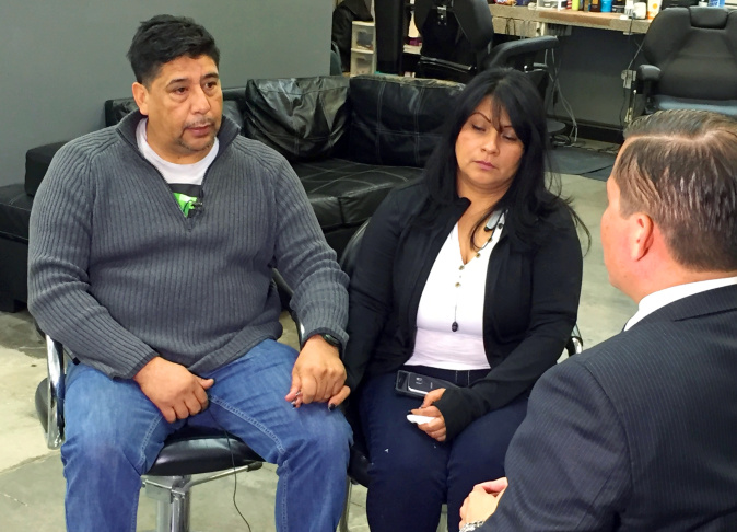 In this Saturday, Nov. 14, 2015 photo, Beatriz Gonzalez, the mother of a 23-year-old Nohemi Gonzalez, a student killed in the Paris terrorist attacks, and stepfather Jose Hernandez speak to a reporter at Hernandez' barber shop in Norwalk, Calif. Beatriz Gonzalez said her daughter Nohemi was an independent young woman who loved school. Nohemi, who was a senior studying design at California State University, Long Beach, and participating in an exchange program at the Strate College of Design in France, was at a Paris restaurant with fellow students when she was fatally shot Friday.